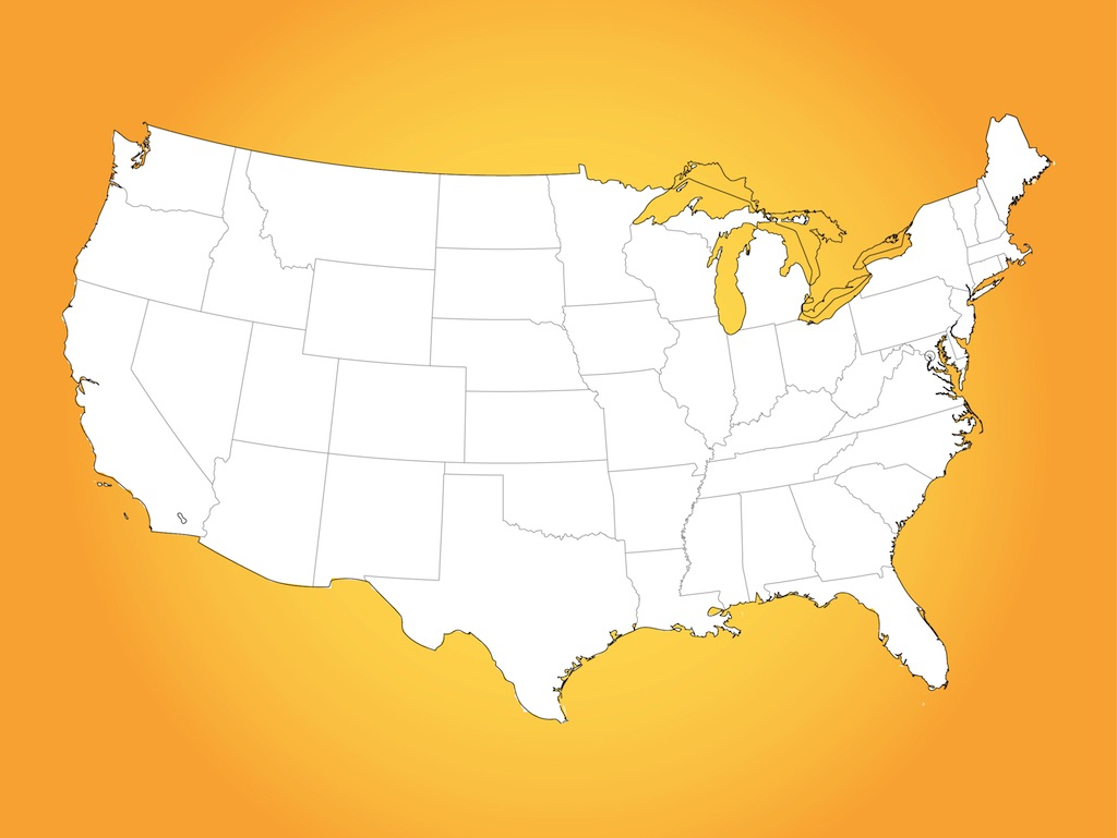 13 USA Map Vector Images