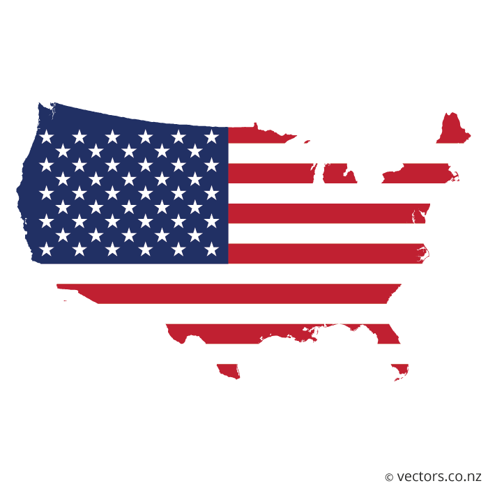 USA Map with Flag