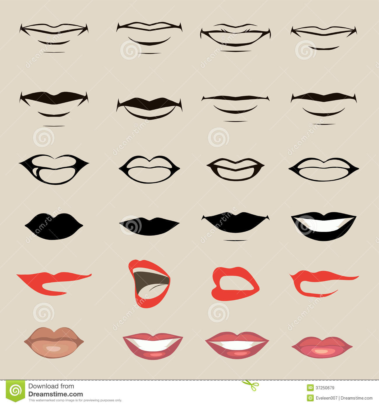 10 Lips Silhouette Vector Images