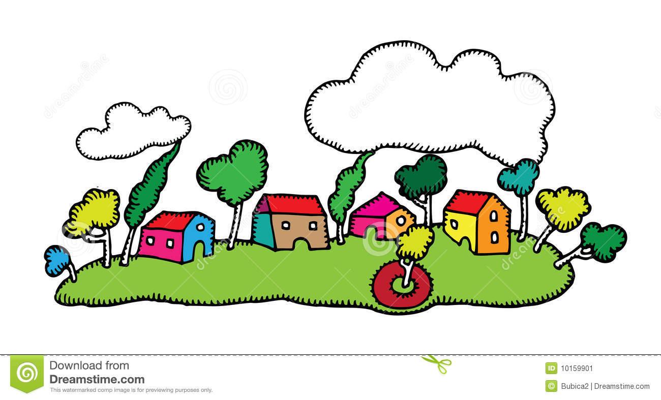 Village Clip Art Drawing