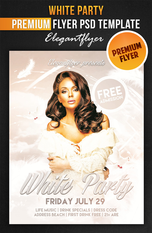 White Party Flyers Templates Free