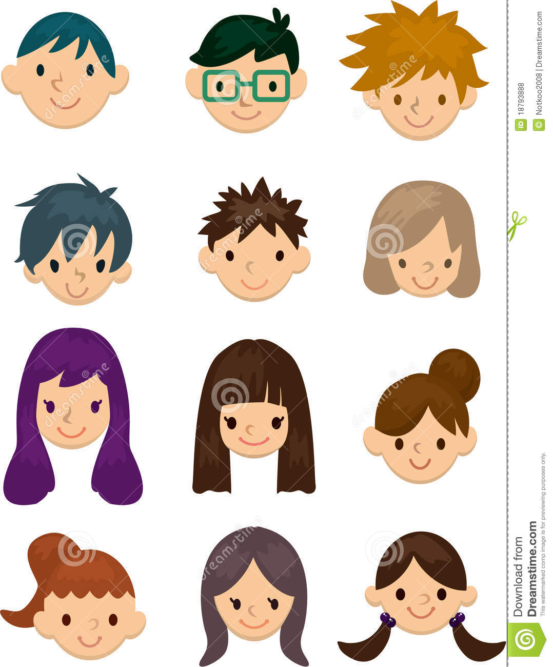 Young People Face Cartoon