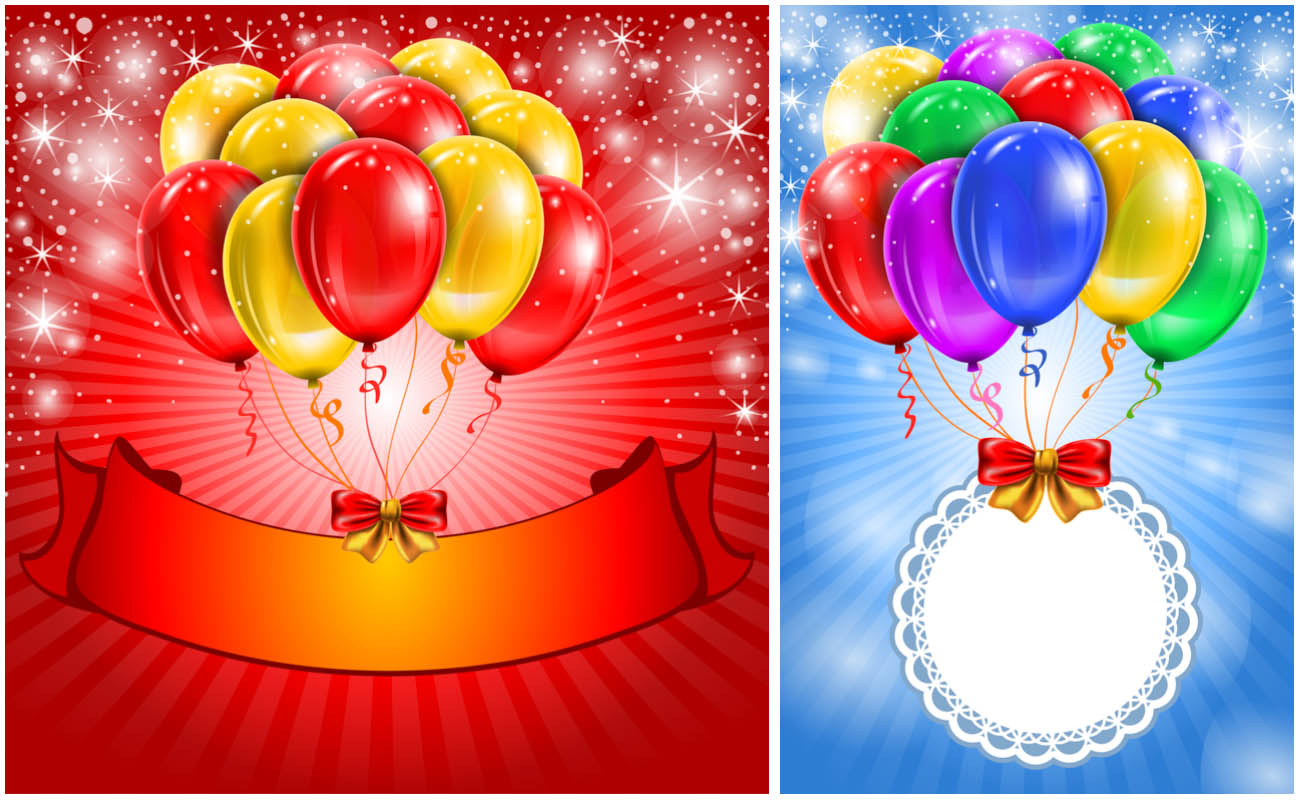 7 Balloons Birthday Card Vector Images