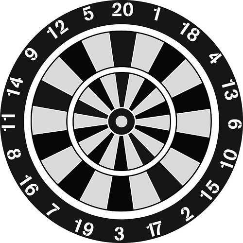Darts clipart black and white
