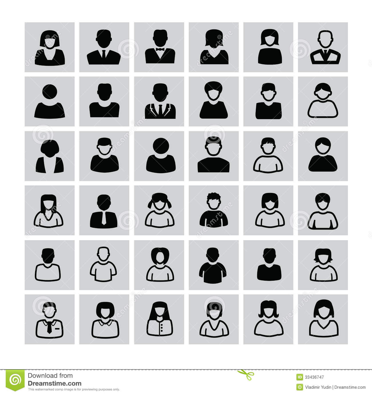 Black and White Vector People Icons