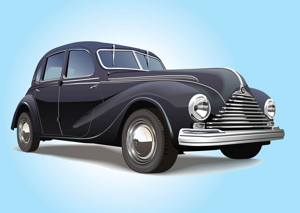 12 Vintage Car Vector Images Classic Car Vector Classic
