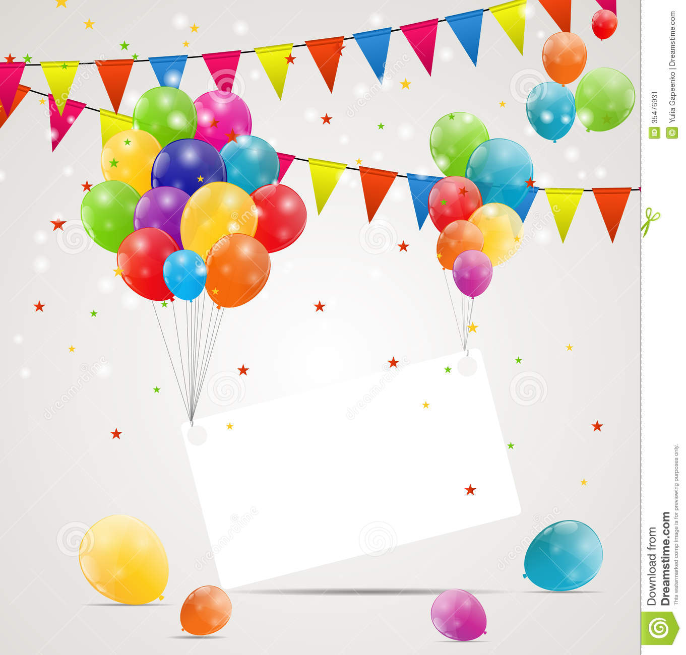 Colorful Balloons Birthday Picture Cards