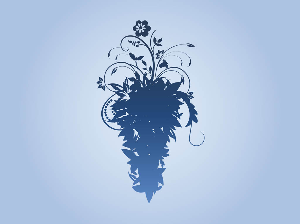 14 Floral Silhouette Vector Images