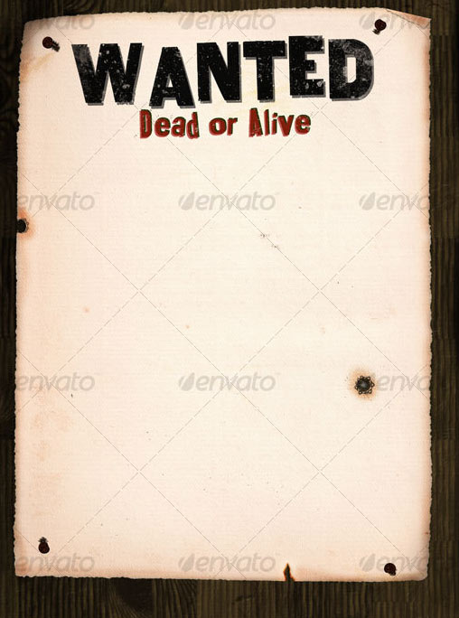 18 wanted poster template psd images wild west wanted for Wanted dead or alive poster template free