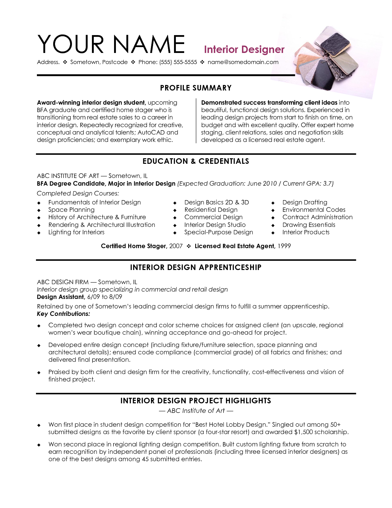 Interior Design Resume Template Banana Republic S Associate Resume