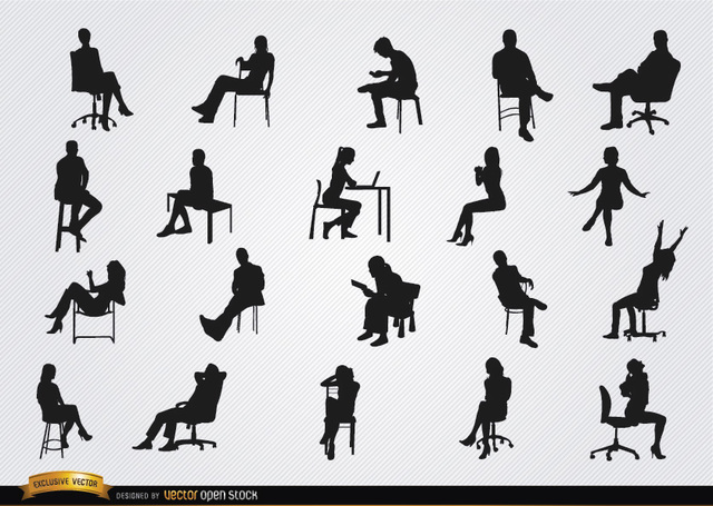 People Sitting in Chairs Clip Art