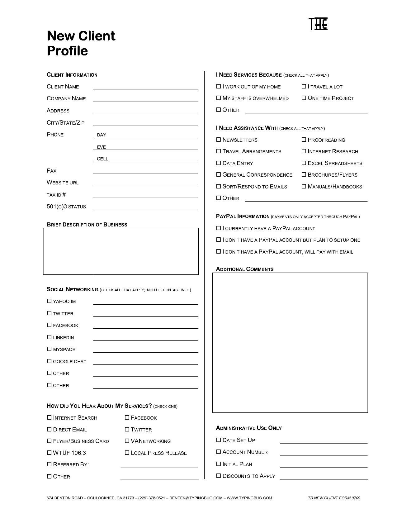 client profile template
