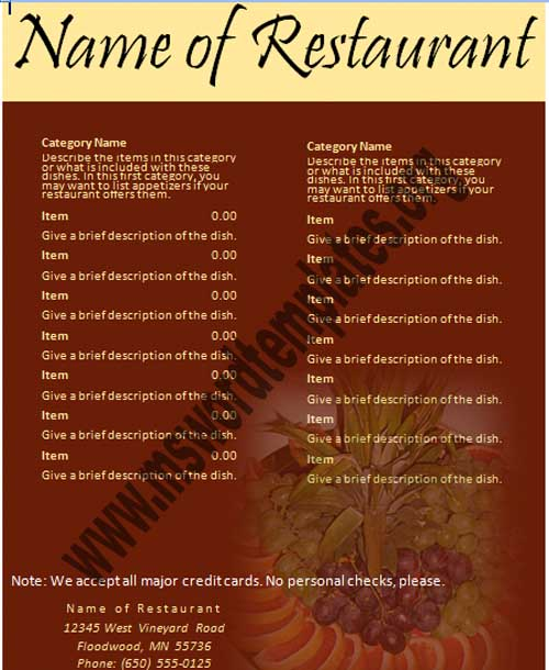 Restaurant Menu Templates Free  Free Printable Restaurant Menu Template