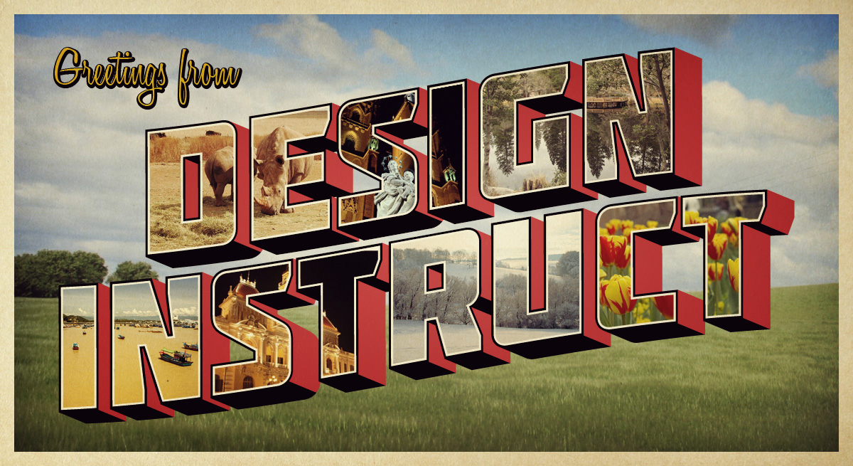Retro Postcard Design Photoshop
