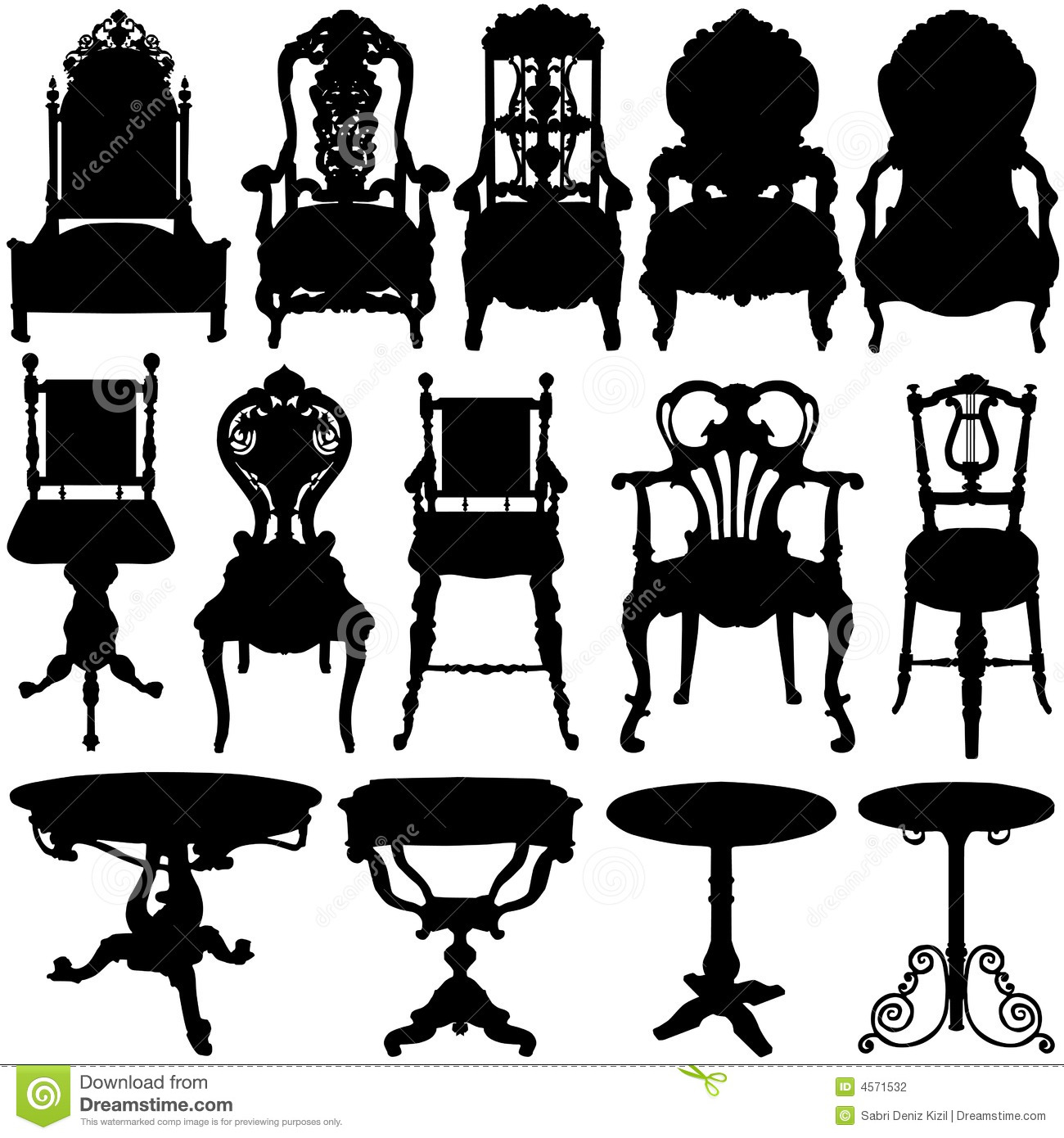 Vector Vintage Table and Chairs