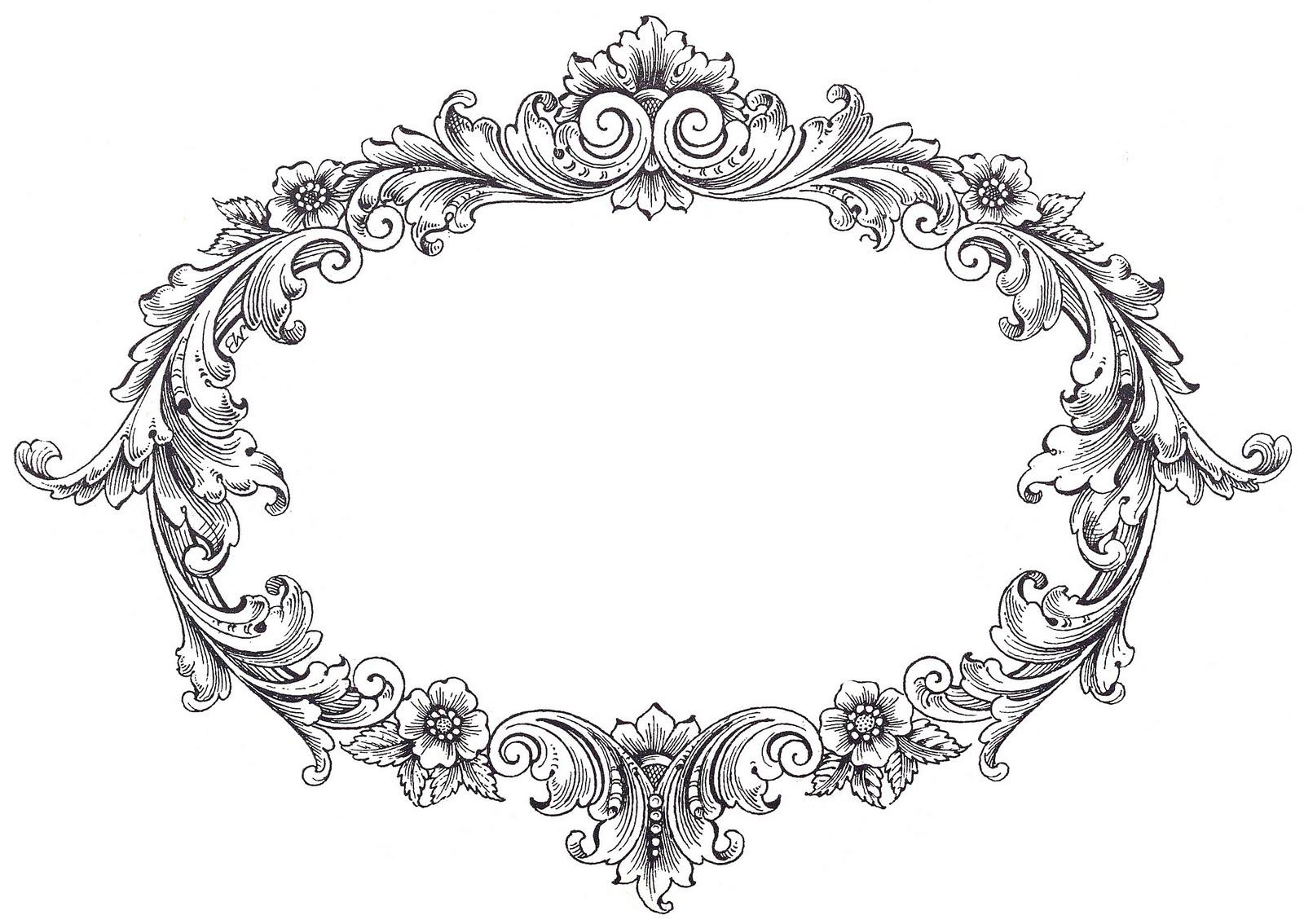 Vintage Oval Fancy Frame Clip Art