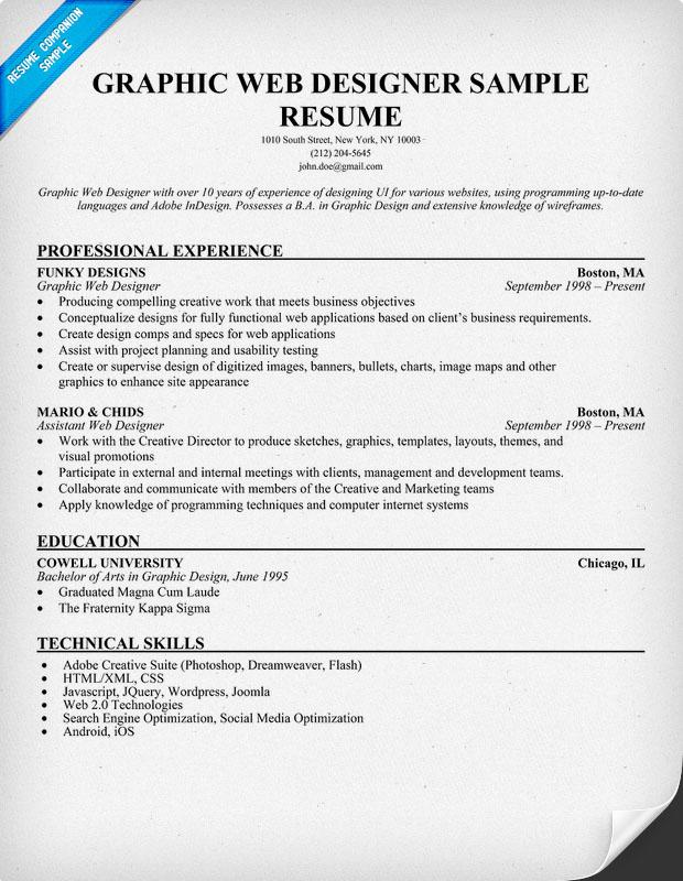 11 Graphic Designer Resume Sample Images Graphic Design Resume