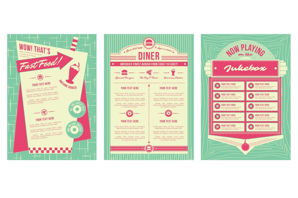 13 Retro Diner Vector Logo Templates Images - Flat Vector