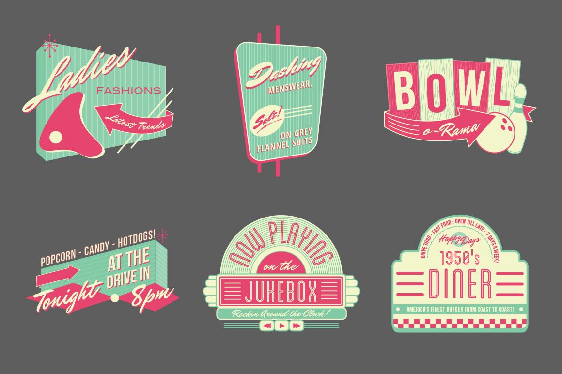 13 Retro Diner Vector Logo Templates Images Flat Vector