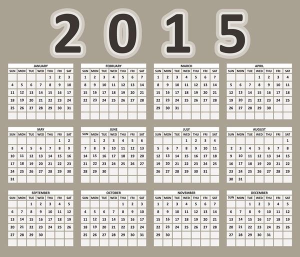 2015 Calendar Printable Design