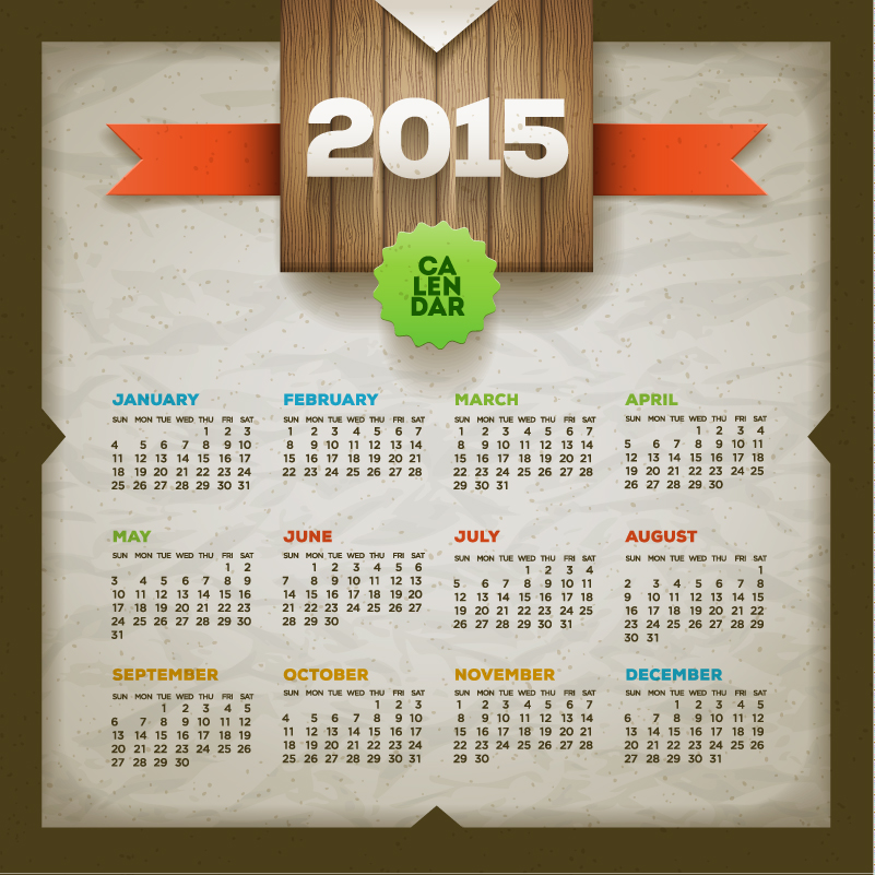 2015 Calendar Vector Free Download