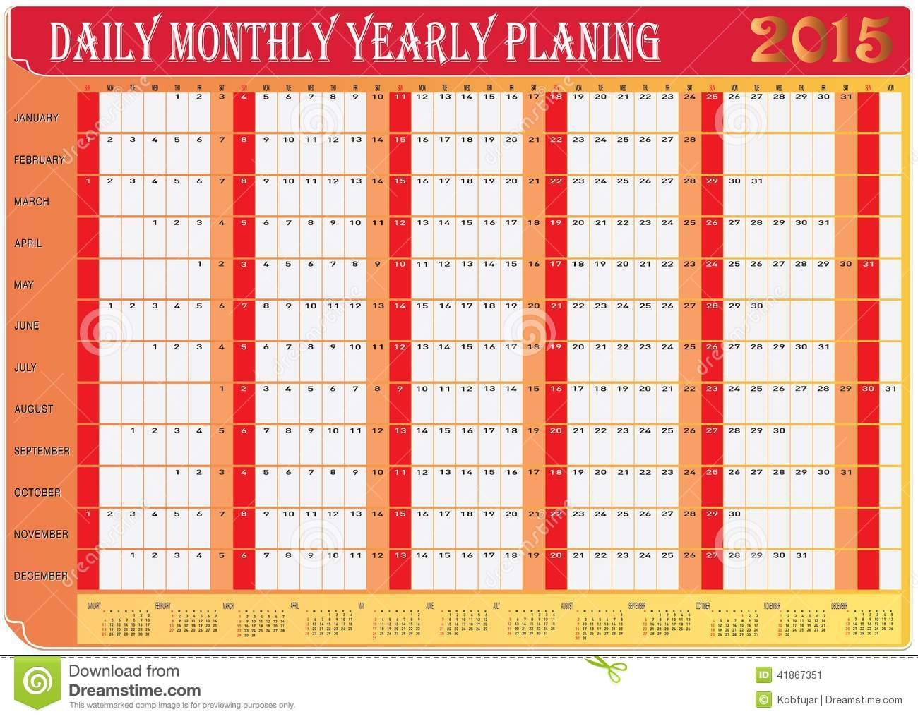 Monthly Calendar Chart : Daily calendar vector images monthly planner
