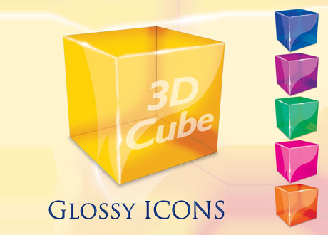 3D Cube Desktop Icon PSD