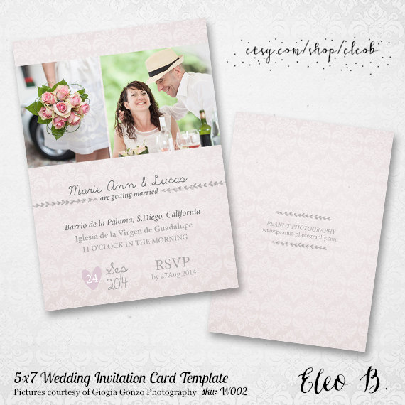 5X7 Wedding Invitation Template