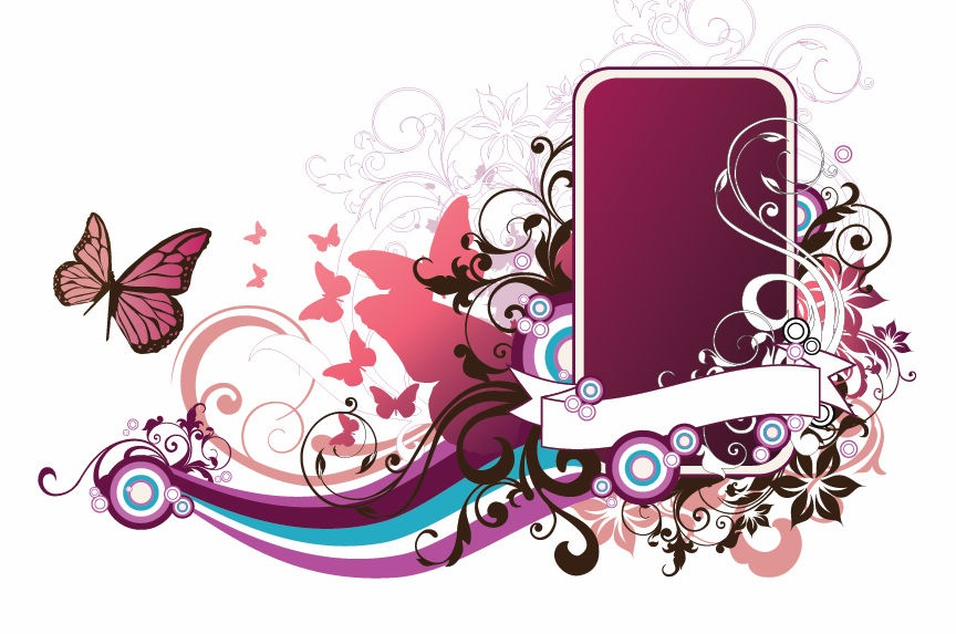 Abstract Floral Vector Frame