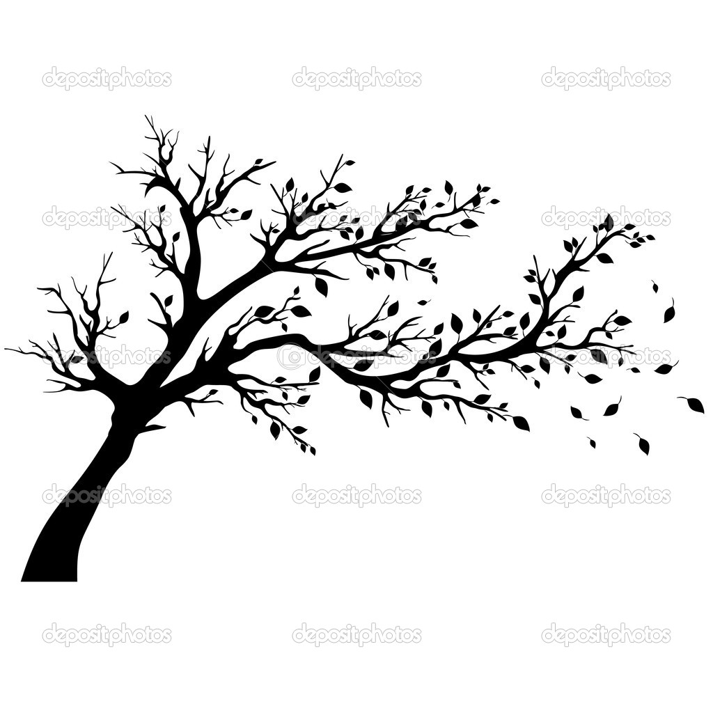 Blowing Tree Silhouette Clip Art