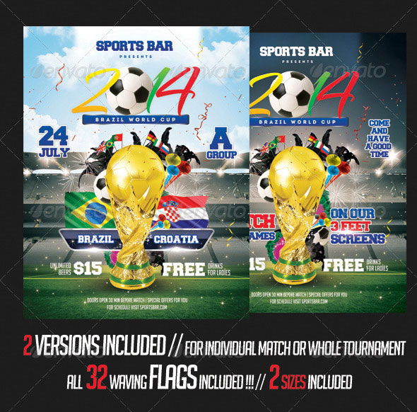 Brazil 2014 Soccer Cup Flyer Template