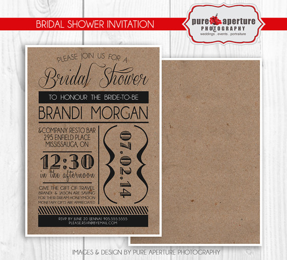 Bridal Shower Postcard Invitations Templates