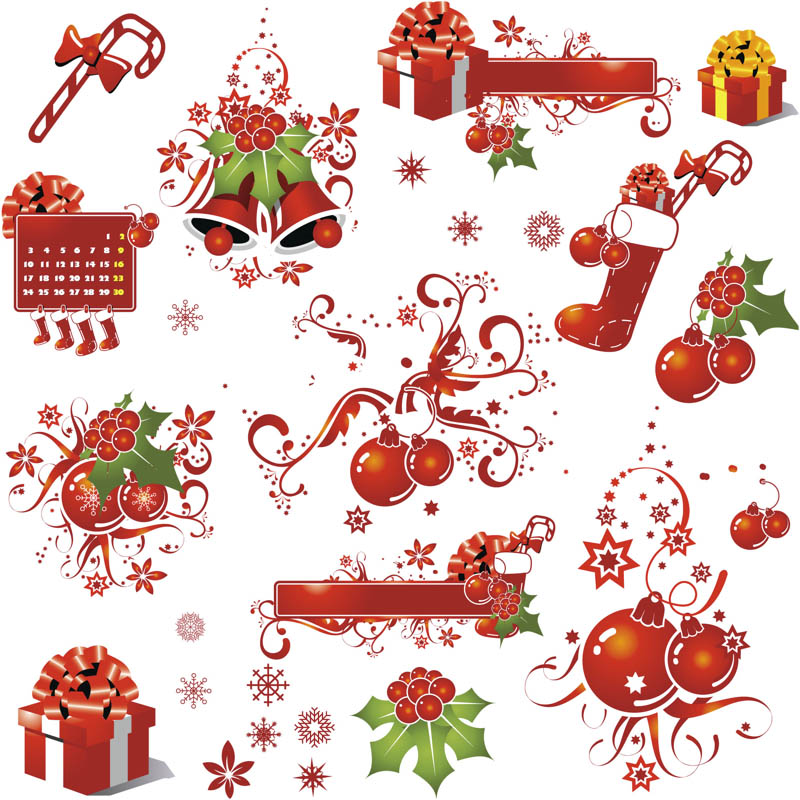 Christmas decorations vector images free