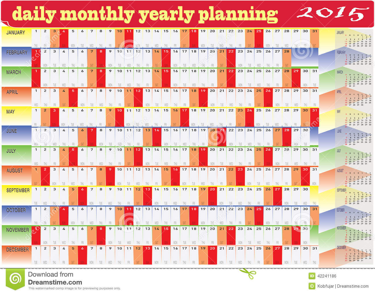 Daily Monthly Yearly Calendar 2015