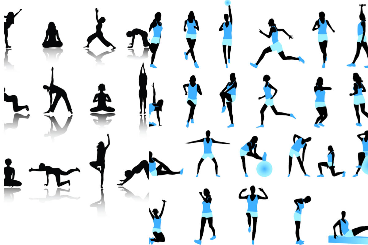 17 Exercise Silhouette Vector Images