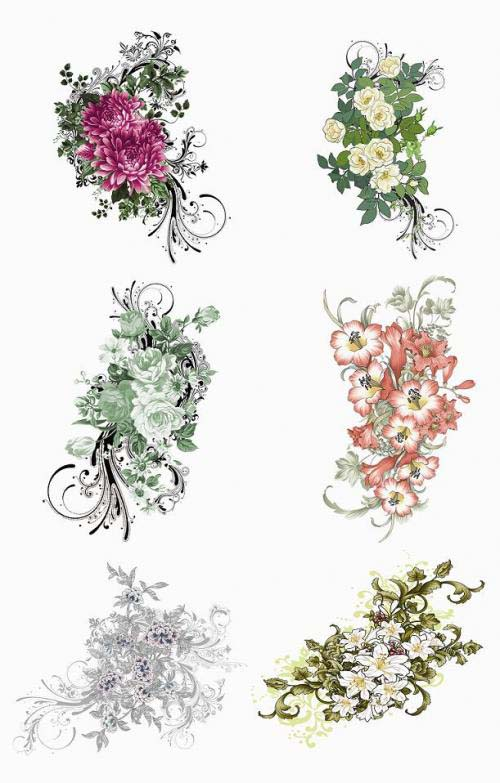 Floral Vector Design Elements PSD