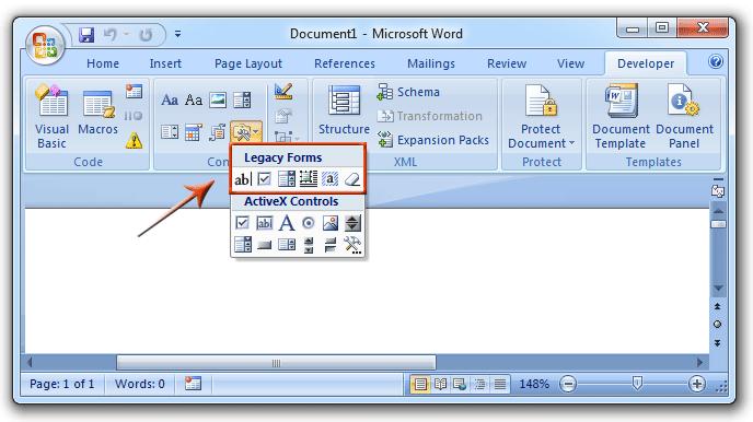 Form Toolbar of Microsoft Office 2003