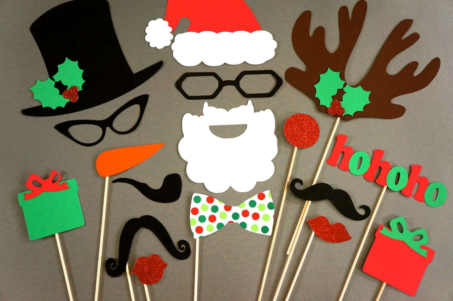free photo booth props printable pdf christmas