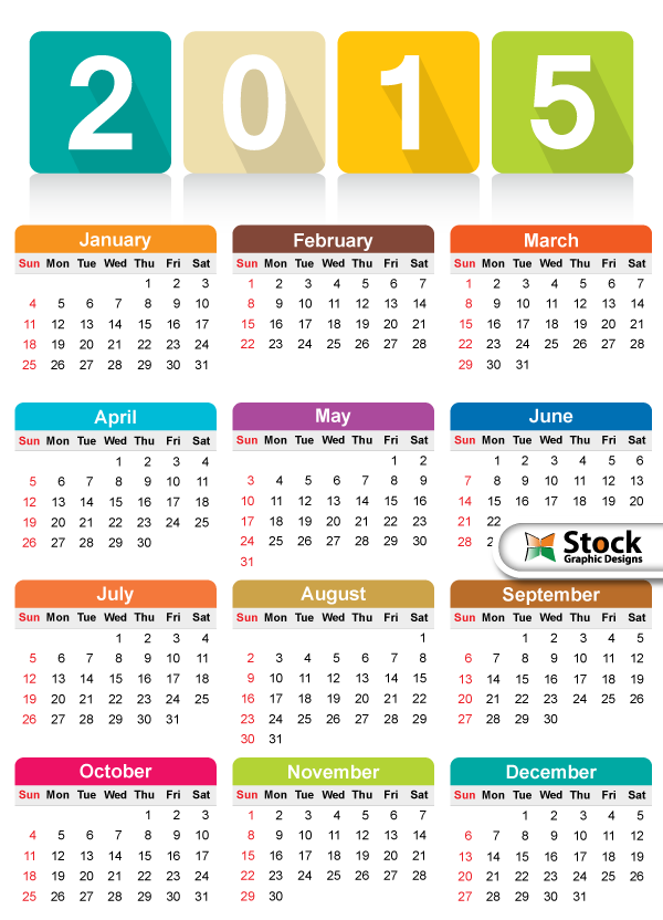 Free Colorful Calendars 2015