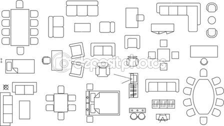 17 Tables And Chairs Vector Plan View Images
