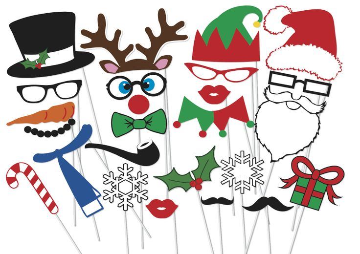 free printable christmas party photo booth props