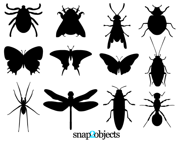 Insect Silhouettes Vector Free