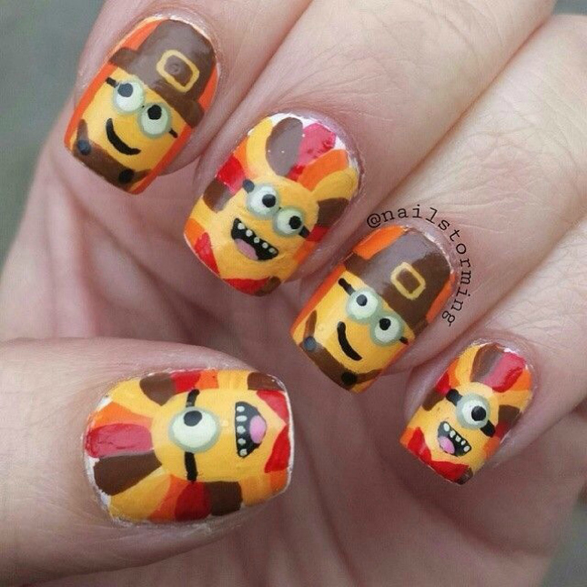 Minion Nail Art Designs Thanksgiving