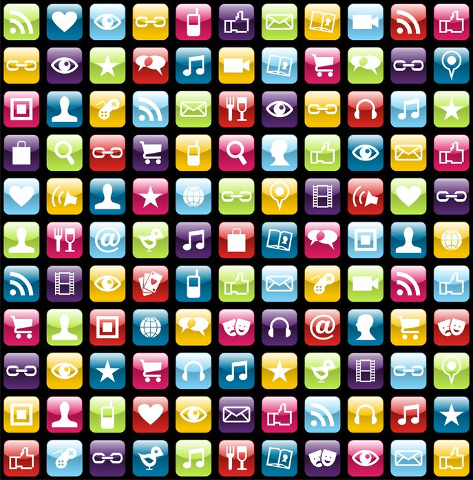 17 Social App Icons Mobile Phone Images