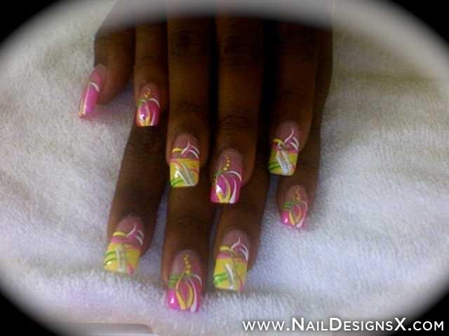 Neon Acrylic Nail Art