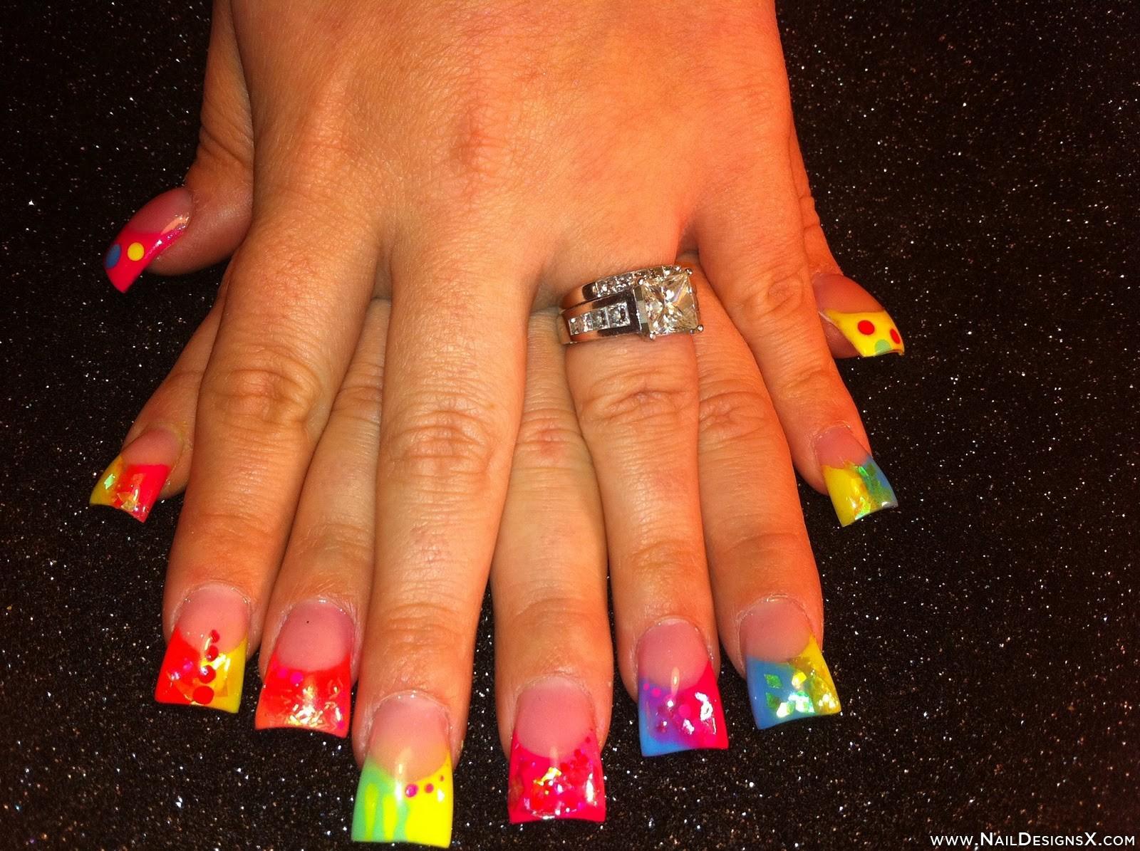 17 Neon Acrylic Nail Designs Ideas Images - Neon Nail Art Designs ...