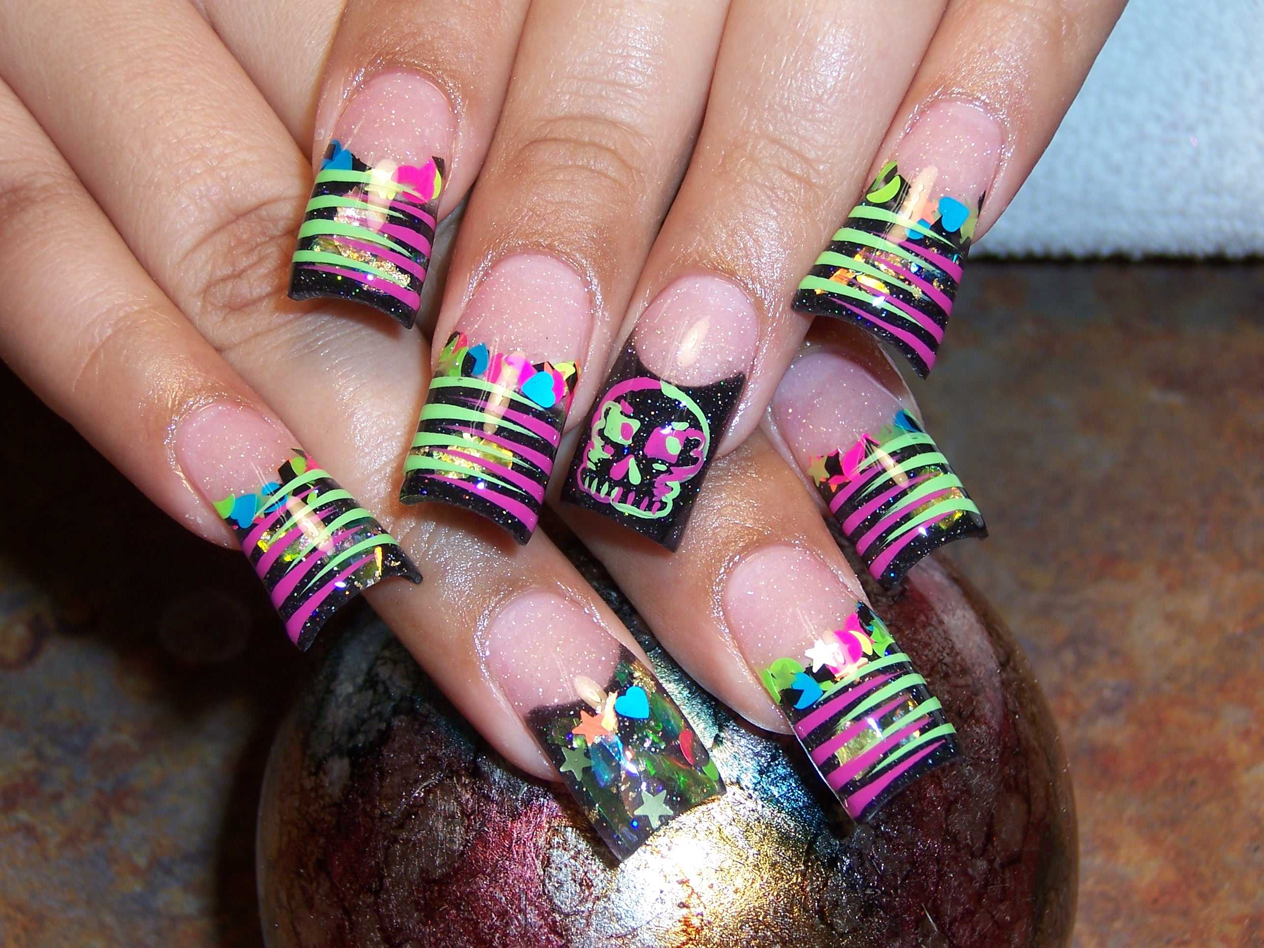 17 Neon Acrylic Nail Designs Ideas Images