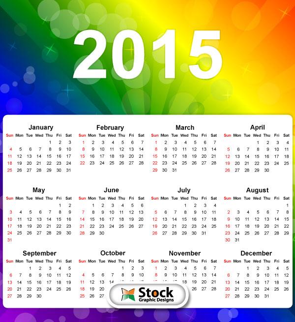 Rainbow 2015 Calendar Printable