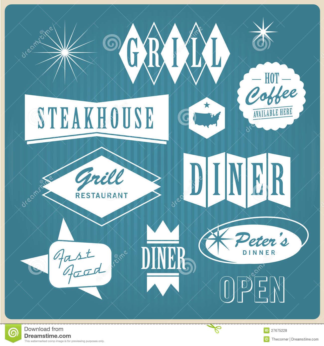 13 Retro Diner Vector Logo Templates Images