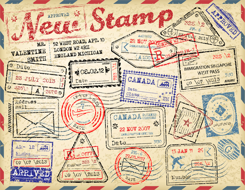 Stamp Travel Vector Art